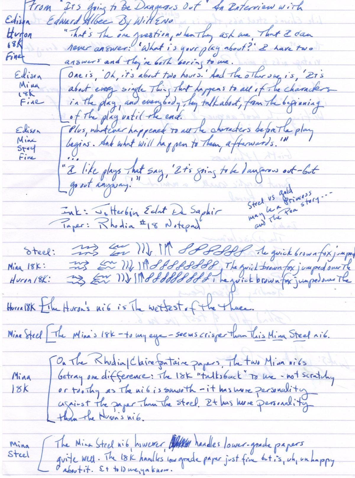 Gold vs Steel nib write-out