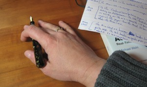 Cramped Writing Thought Pause Pose