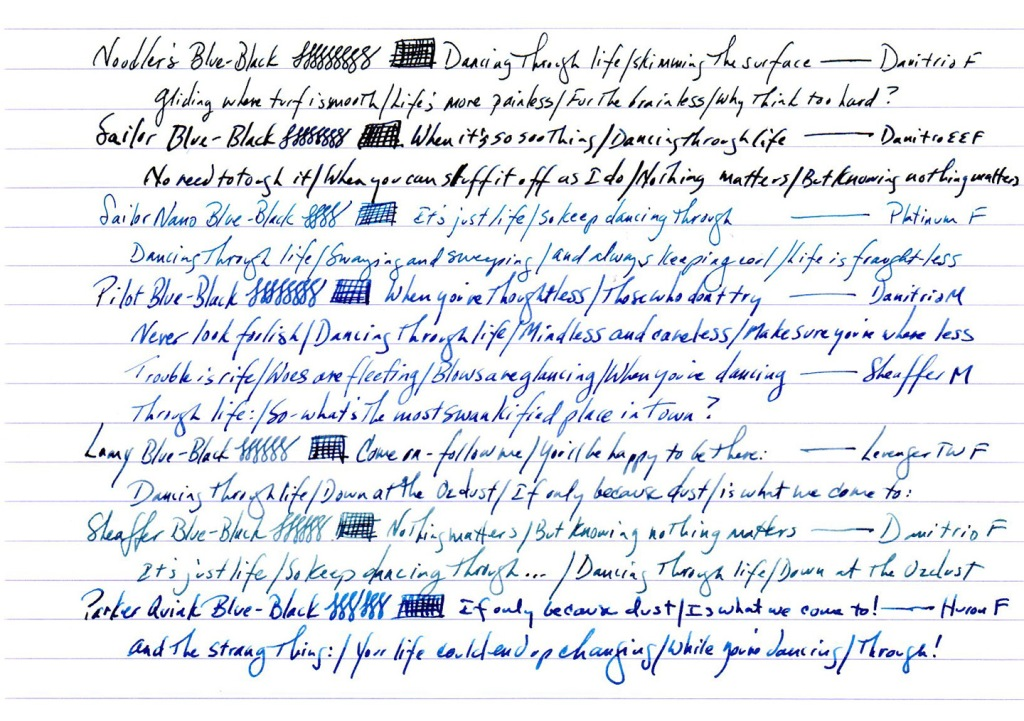 Various blues on Rhodia #18