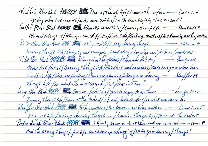 Various blues on Rhodia #18