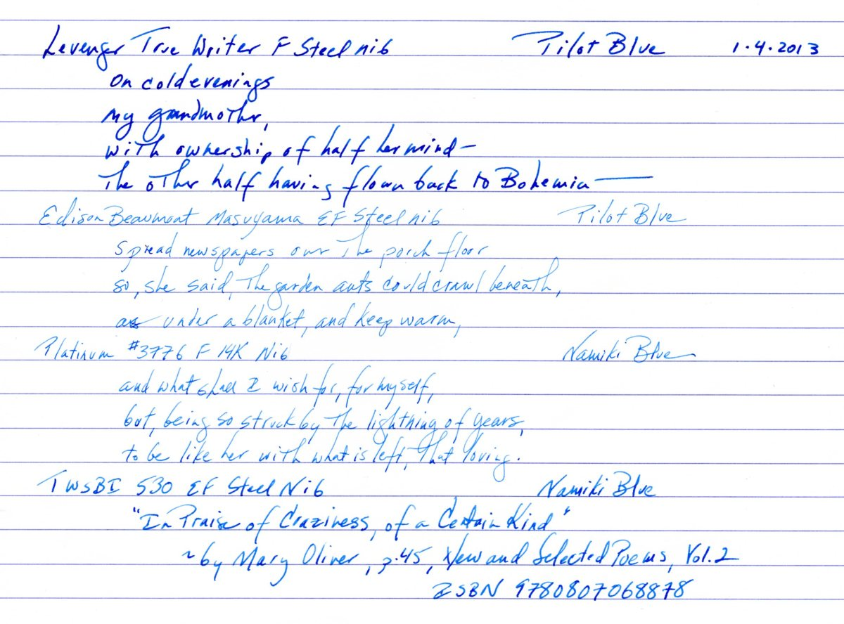 Pilot and Namiki Blue