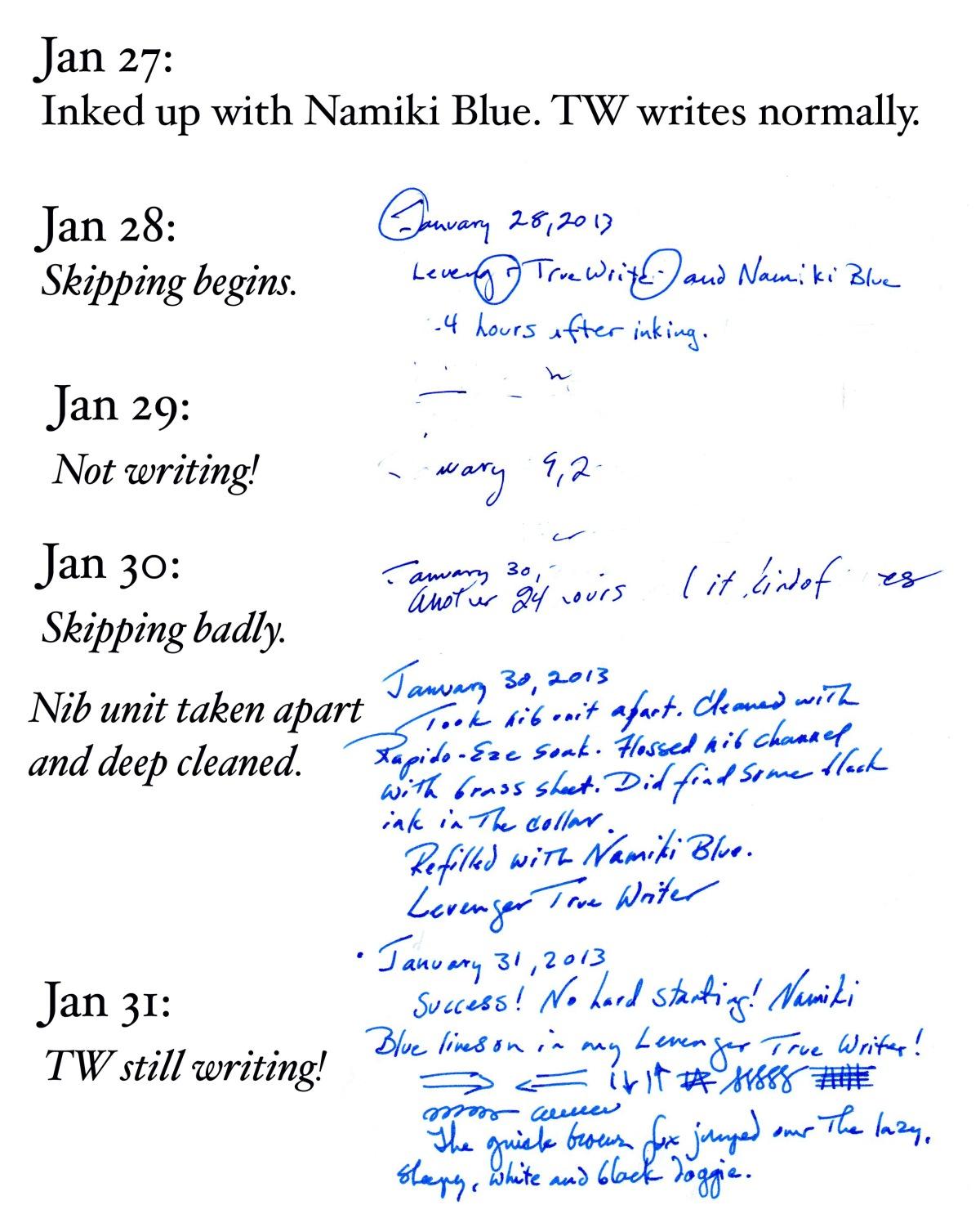 Namiki Blue, HP 32# Premium Laser Printer Paper, Levenger True Writer  diary excerpt