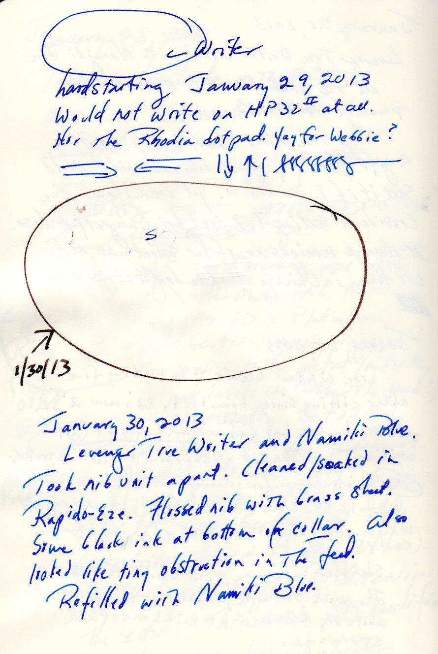 Rhodia Webbie, Namiki Blue, Levenger True Writer diary excerpt