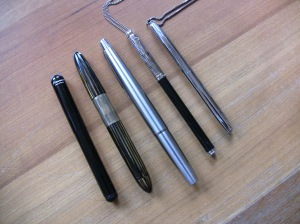 Left to right: Kaweco Liliput, Sheaffer Tuckaway, Pilot MYU701, Waldmann, Fisher Bullet