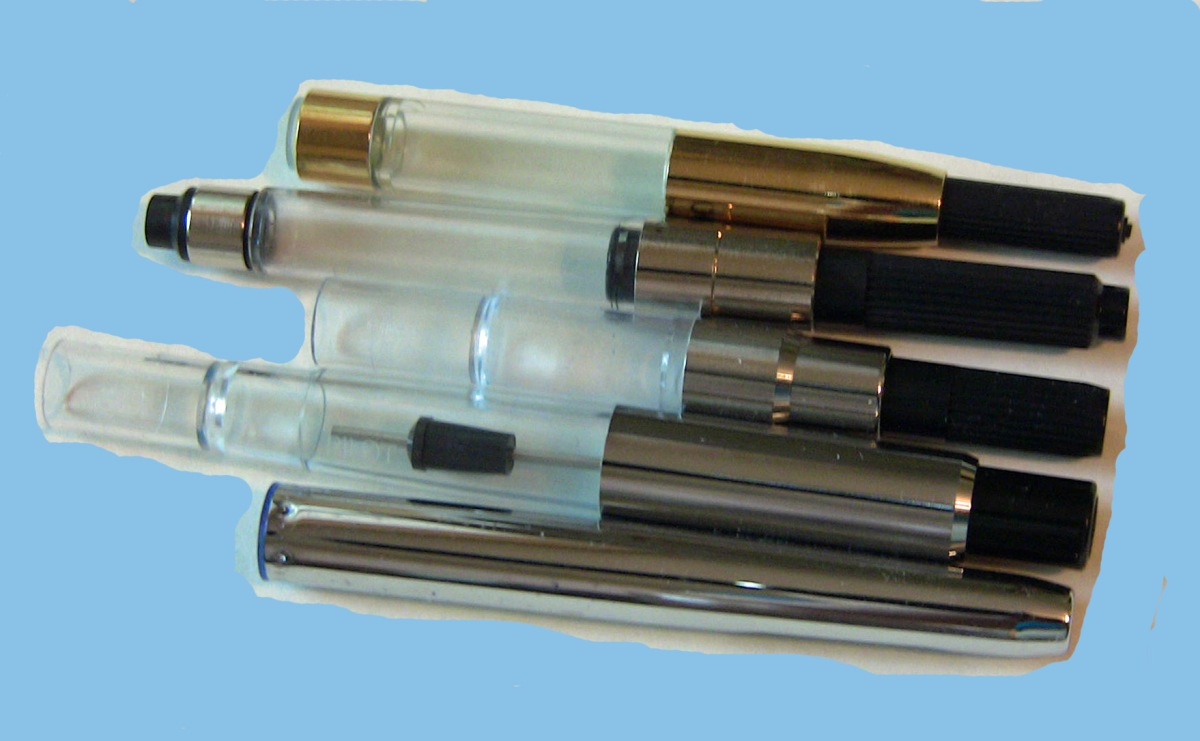 Converters top to bottom: Platinum, international converter, Pilot Con-50, Pilot Con-70, Pilot Con-20