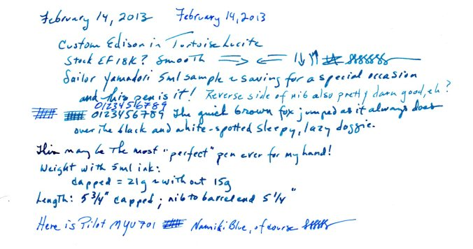 Writing sample from the Custom in Sailor Yama-dori. Pens measurements are here.