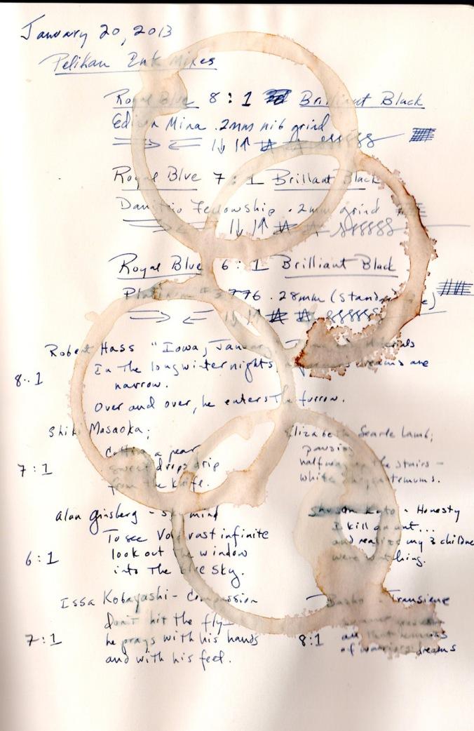 Coffee rings & Pelikan, Rhodia Webbie paper