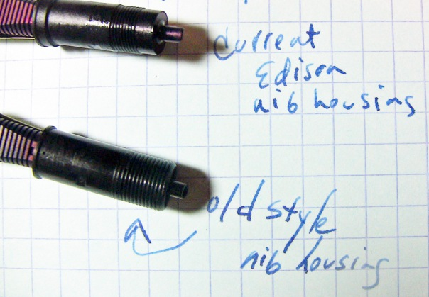 Top: current nib unit threading. Bottom: older style threading.