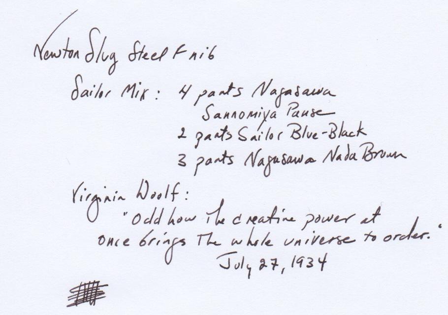 Steel F nib writing sample