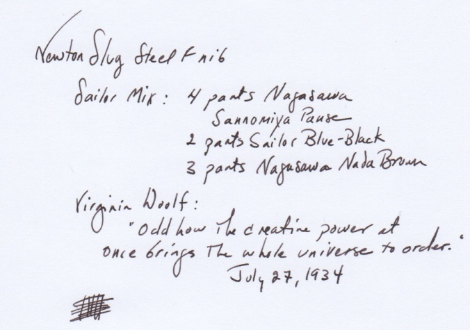 Steel F nib writing sample