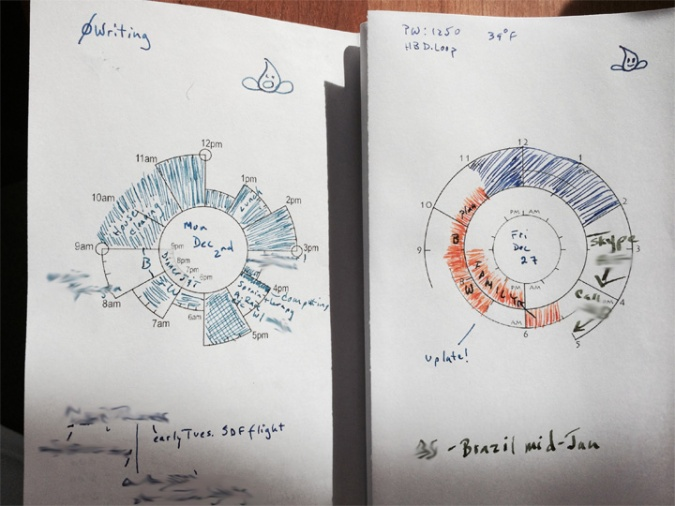 Left: an early tracking page.  Right: current style tracking page. Still figuring out how I want to use color to emphasize various times during the day.