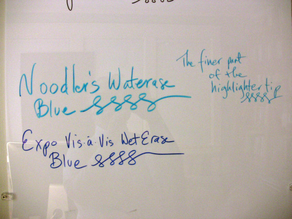 Noodler's Waterase Blue and Expo Vis-a-Vis Blue on my whiteboard