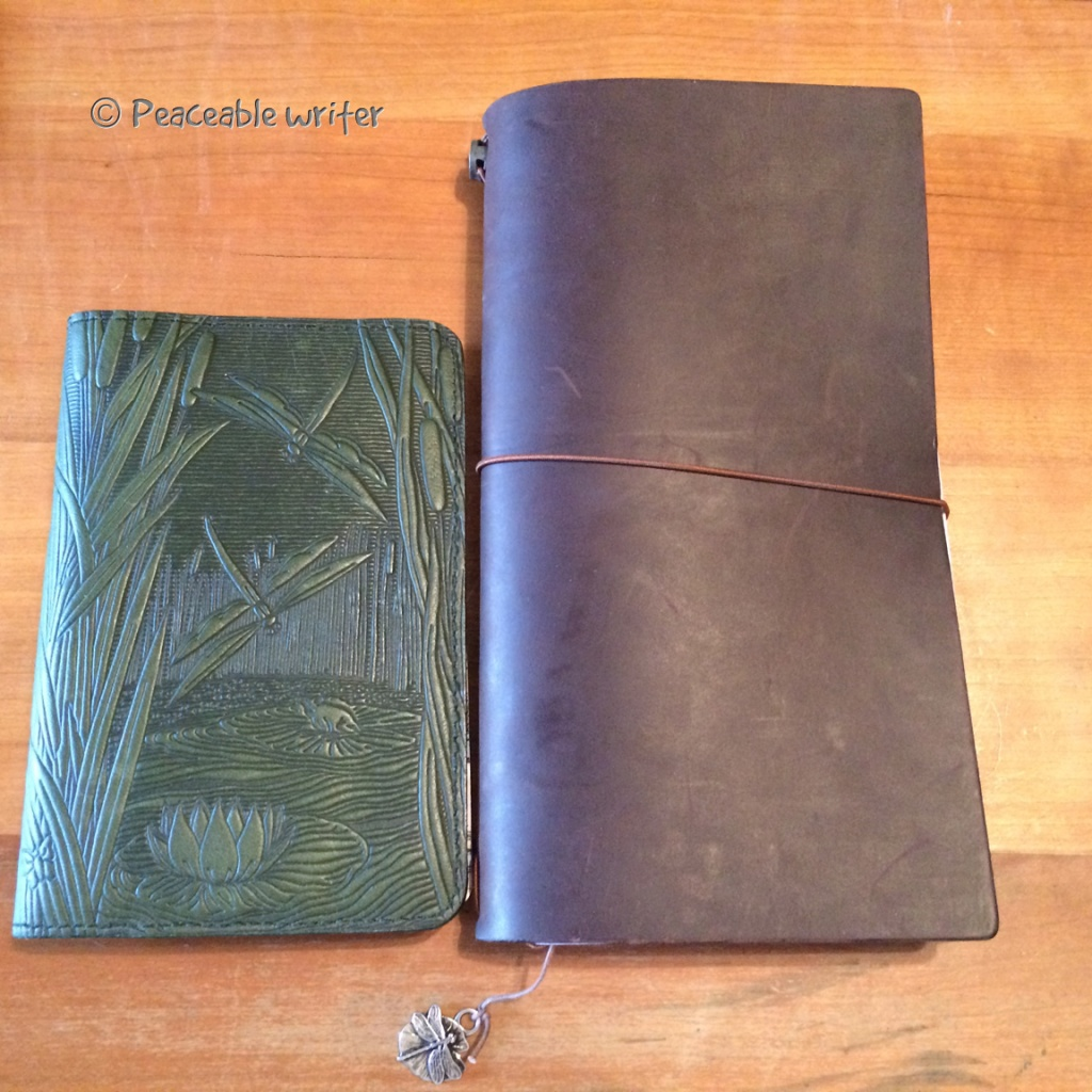 Oberon Pocket Cover next to Midori Traveler's Notebook
