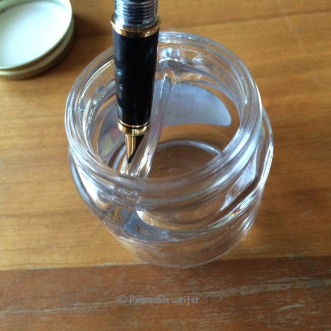 Empty Sheaffer bottle with divided inkwell