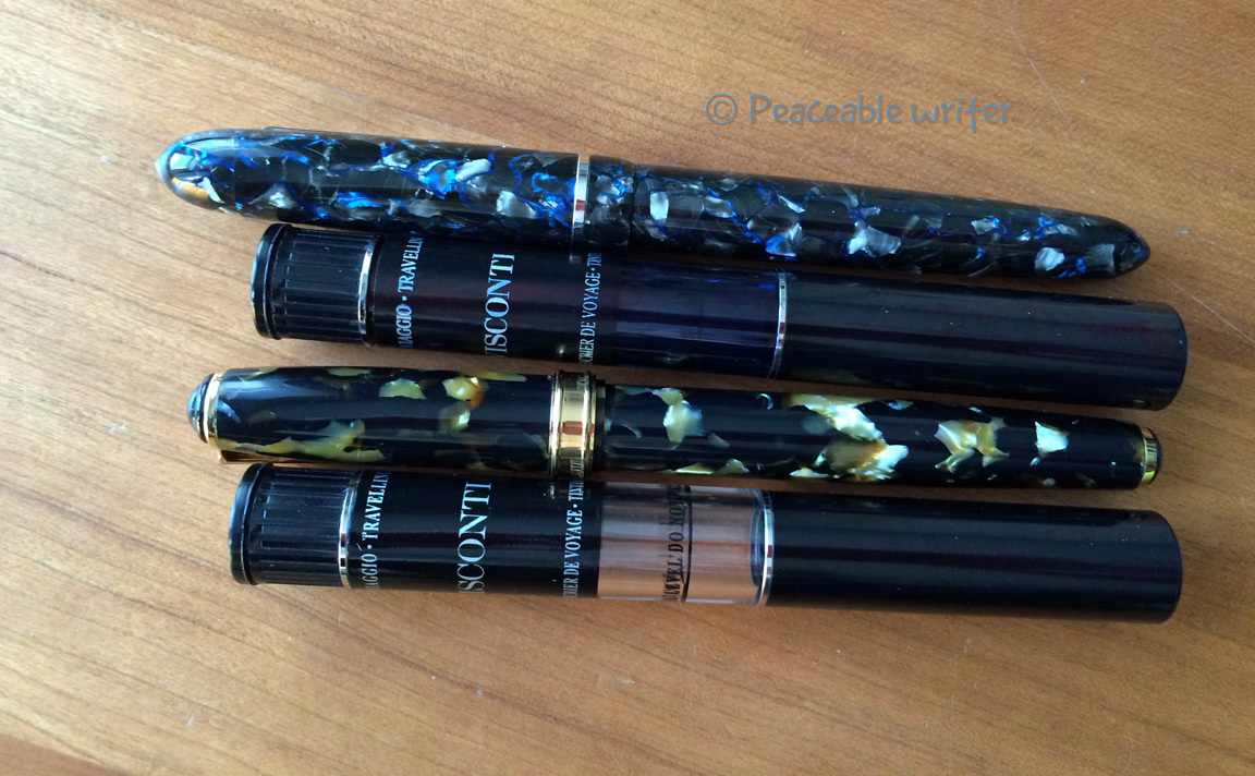 Top to bottom: Edison Menlo, Ink Pot, Levenger True Writer, Ink Pot