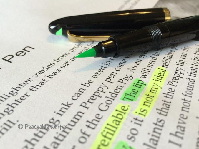 Platinum Green Highlighting ink - Sailor Profit Brush pen