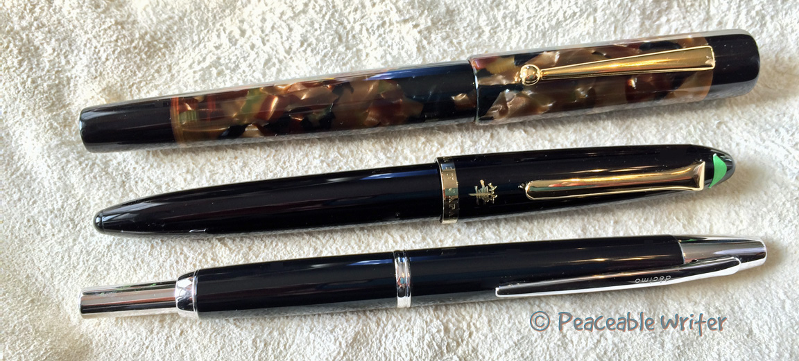 Size comparison, top to bottom: Edison Glenmont, Sailor Profit Brush, Pilot Decimo