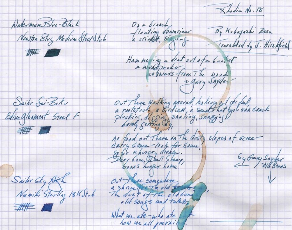 coffee ring resistance Waterman Blue-Black, Sailor Sei-Boku, Sailor Sky High