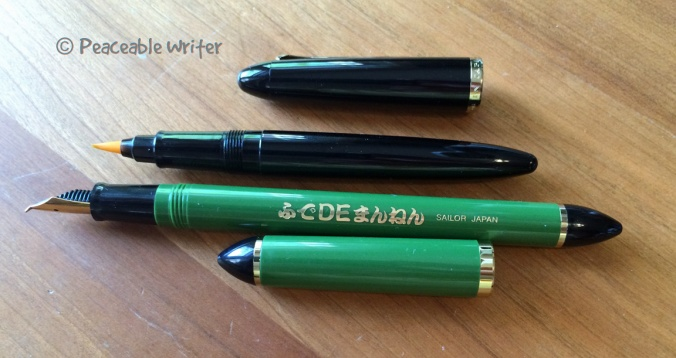 2 different kinds of Sailor fude pens