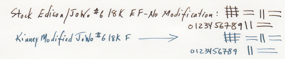 Both JoWo #6 18K nibs, an EF and modified F.