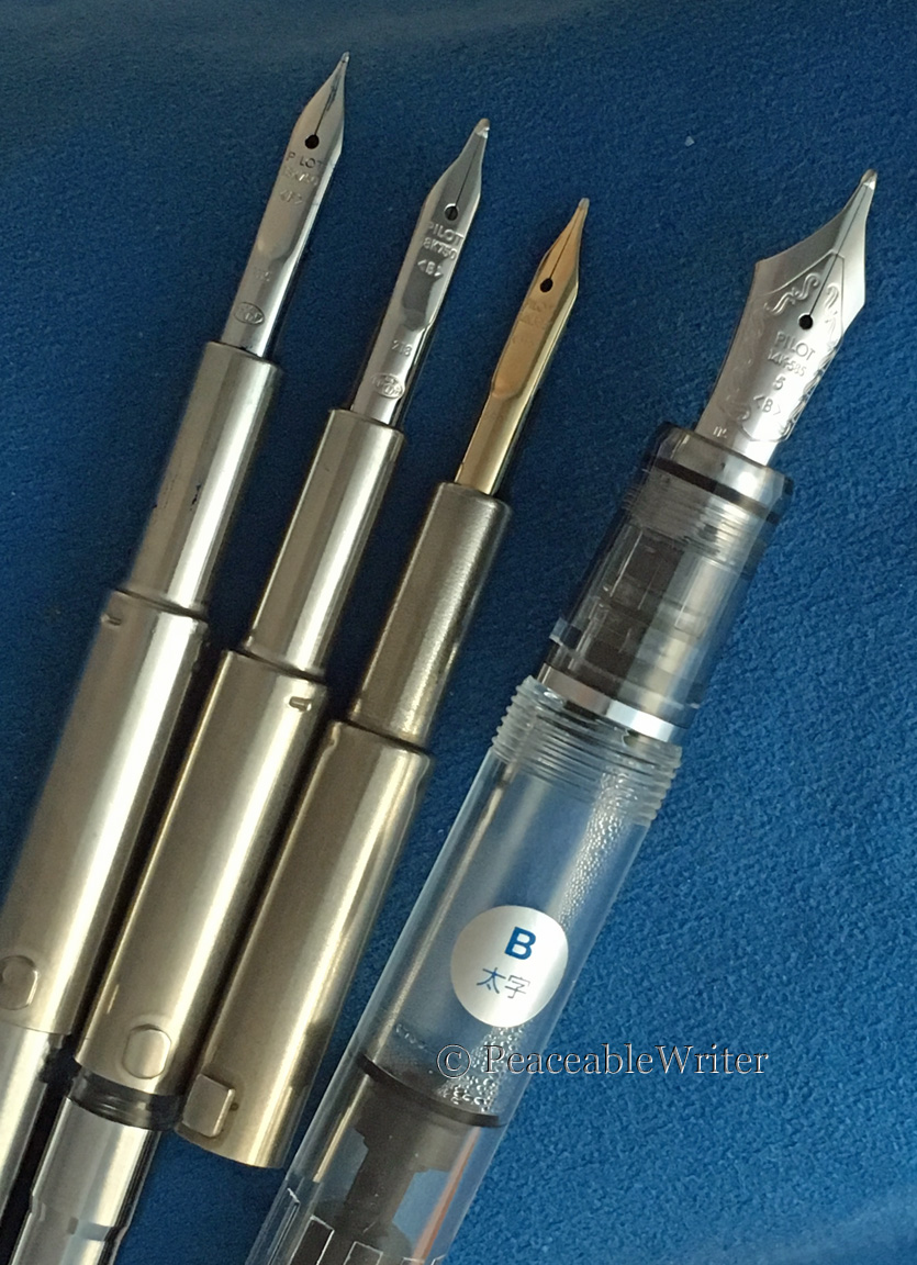 Left to right: Pilot Capless Fine, Medium modified to CI, Broad, Pilot #5 Broad