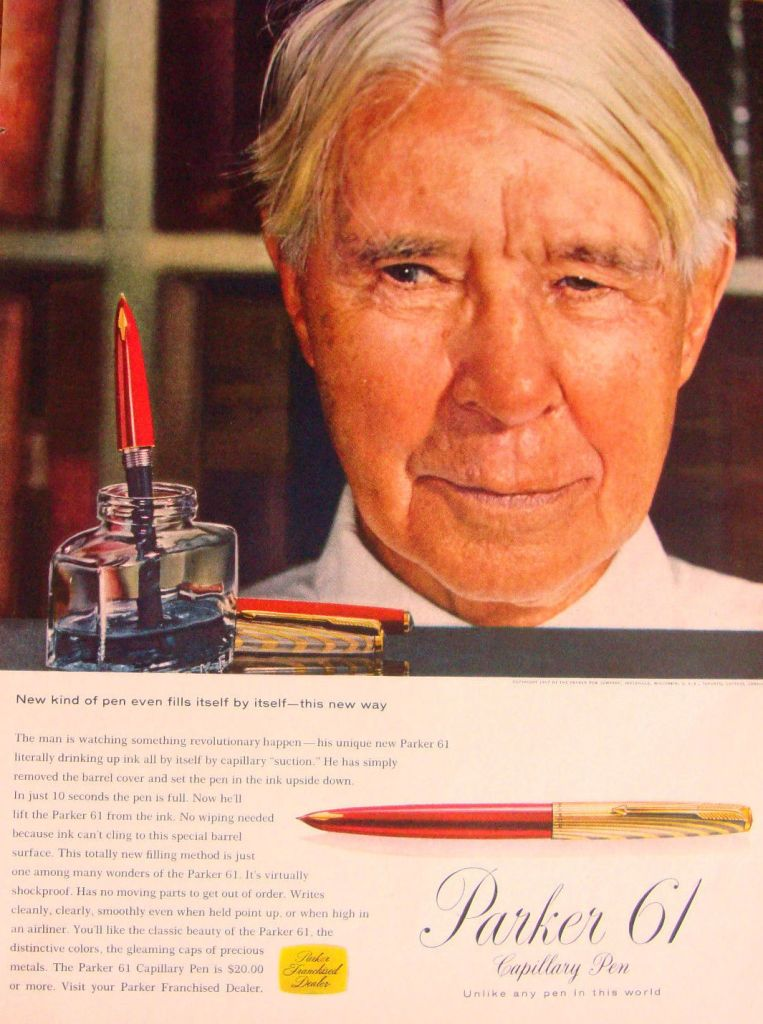 Carl Sandburg 1950's ad for Parker 61